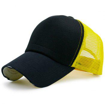 Broken Hole Baseball Cap with Mesh Spliced - YELLOW AND BLACK YELLOW/BLACK