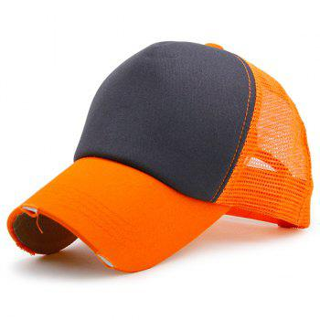Broken Hole Baseball Cap with Mesh Spliced - BLACK AND ORANGE BLACK/ORANGE