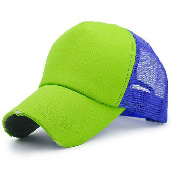 Broken Hole Baseball Cap with Mesh Spliced - BLUE AND GREEN BLUE/GREEN