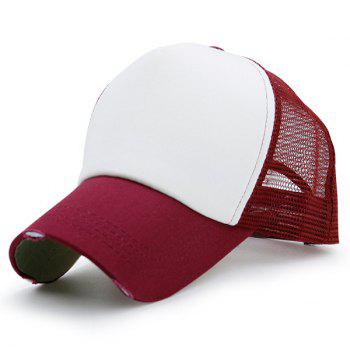 Broken Hole Baseball Cap with Mesh Spliced - WINE RED WINE RED