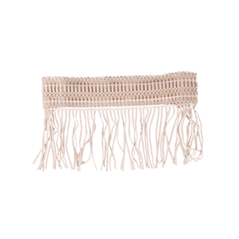 Elastic Snap Button Fringe Woven Corset Belt -  YELLOWISH PINK