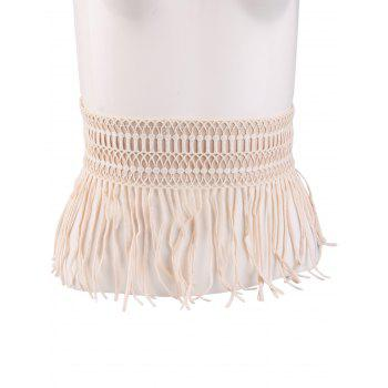 Elastic Snap Button Fringe Woven Corset Belt - YELLOWISH PINK YELLOWISH PINK