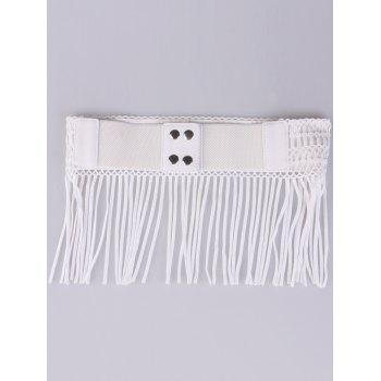 Elastic Snap Button Fringe Woven Corset Belt - WHITE
