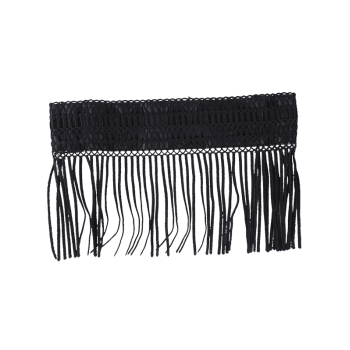 Elastic Snap Button Fringe Woven Corset Belt - BLACK