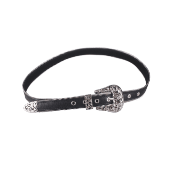 Faux Leather Engraved Retro Pin Buckle Belt - Noir