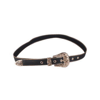 Faux Leather Engraved Retro Pin Buckle Belt - GOLDEN GOLDEN