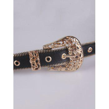 Faux Leather Engraved Retro Pin Buckle Belt - Or
