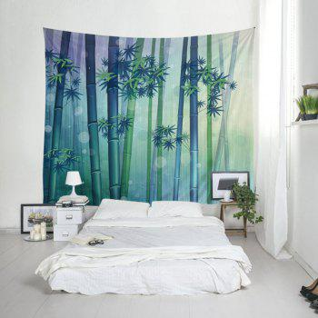 Wall Hanging Art Bamboo Forest Print Tapestry - GREEN W59 INCH * L59 INCH