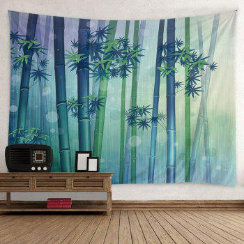 Wall Hanging Art Bamboo Forest Print Tapestry - GREEN W79 INCH * L59 INCH