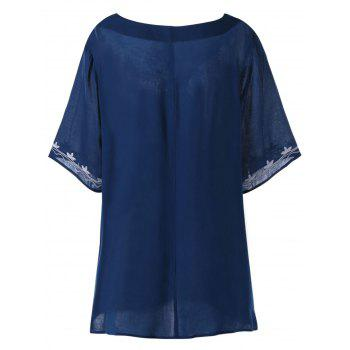 Plus Size Embroidered High Low Tunic Blouse - CADETBLUE 2XL