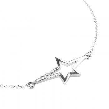 Rhinestone Chain Star Anklet - SILVER