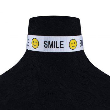 Smile Face Funny Choker Necklace - Blanc