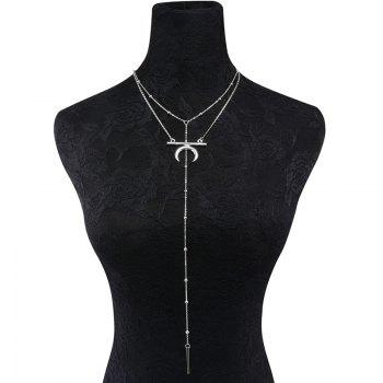 Gypsy Bar Circle Moon Layered Necklace - Argent