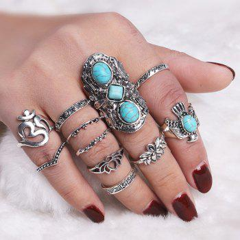 Artificial Turquoise Fly Eagle Floral Ring Set
