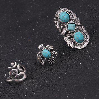 Artificial Turquoise Fly Eagle Floral Ring Set -  SILVER