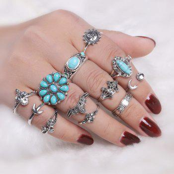 Faux Turquoise Sun Flower Moon Ring Set - SILVER SILVER