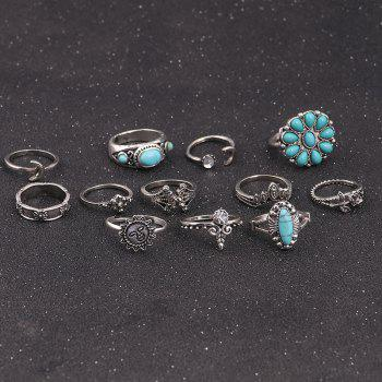Faux Turquoise Sun Flower Moon Ring Set -  SILVER