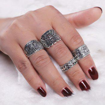 Vintage Engraved Floral Finger Ring Set - SILVER SILVER