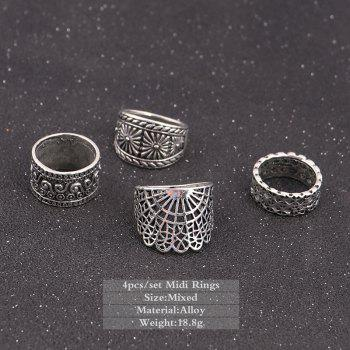 Vintage Engraved Floral Finger Ring Set -  SILVER