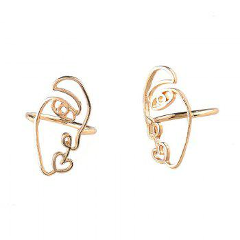 Alloy Funny Face Heart Ring Set -  GOLDEN