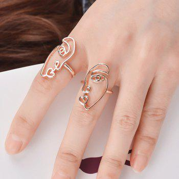 Alloy Funny Face Heart Ring Set - GOLDEN GOLDEN