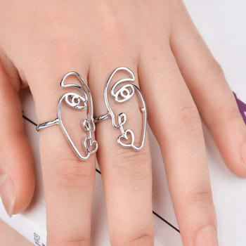 Alloy Funny Face Heart Ring Set - SILVER SILVER
