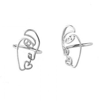 Alloy Funny Face Heart Ring Set - Argent