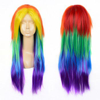 Middle Part Layered Long Straight My Little Pony Rainbow Dash Cosplay Wig