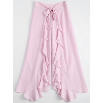 Tie Front Frill High Slit Palazzo Pants