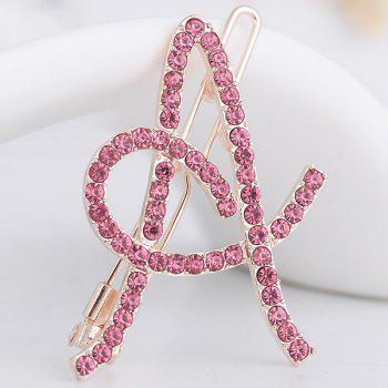 Rhinestones Hollow Out Letter A Hair Clip - SHALLOW PINK SHALLOW PINK