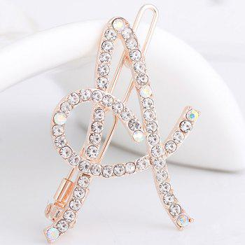 Rhinestones Hollow Out Letter A Hair Clip - WHITE WHITE