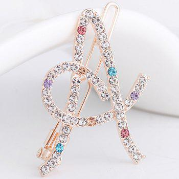 Rhinestones Hollow Out Letter A Hair Clip