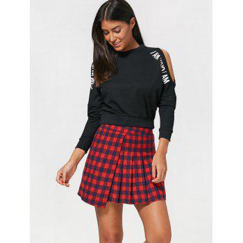 Tartan Short Pleated Skirt with Zipper