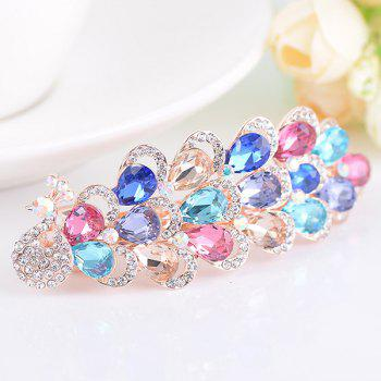 Peacock Shape Rhinestone Inlaid Faux Gem Barrette - COLORFUL COLORFUL