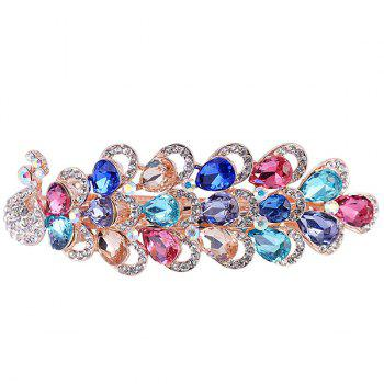 Peacock Shape Rhinestone Inlaid Faux Gem Barrette - COLORFUL