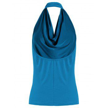 Open Back Halter Tank Top - BLUE S