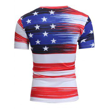American Flag Print Short Sleeve Tee - 2XL 2XL