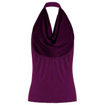 Open Back Halter Tank Top - PURPLISH RED PURPLISH RED