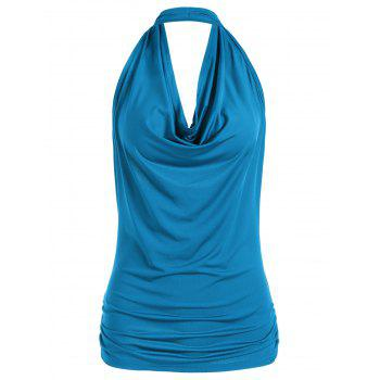 Open Back Halter Tank Top - BLUE BLUE