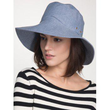 Wide Brim Cotton Blend Bucket Sun Hat - BLUE