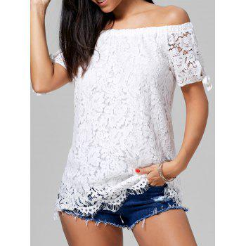 Off The Shoulder Lace Tunic Blouse