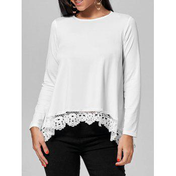 Long Sleeve High Low Lace Insert Tee