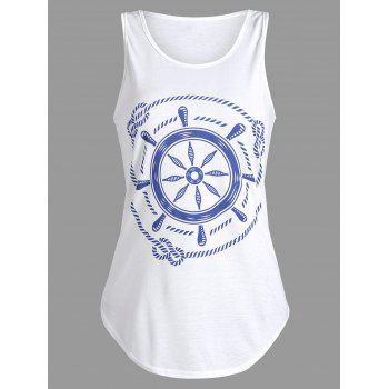Printed Racerback Tank Top - WHITE S