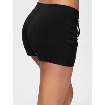 Lace Up Skinny Shorts - BLACK BLACK