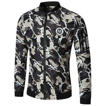 Zipper Up Patch Design Camo Bomber Jacket