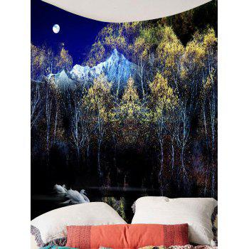 Swan Moon Tree Wall Art Tapestry - COLORMIX W59 INCH * L59 INCH