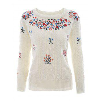 Embroidery Crew Neck Knit Sweater