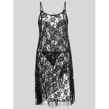 Plus Size Lace Ruffle Slip Dress - BLACK 4XL