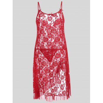 Plus Size Lace Ruffle Slip Dress - RED 5XL