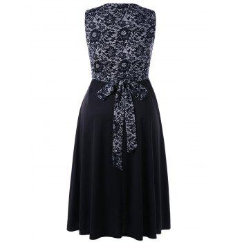 Plus Size Tiny Floral Sleeveless Surplice Dress - BLACK BLACK